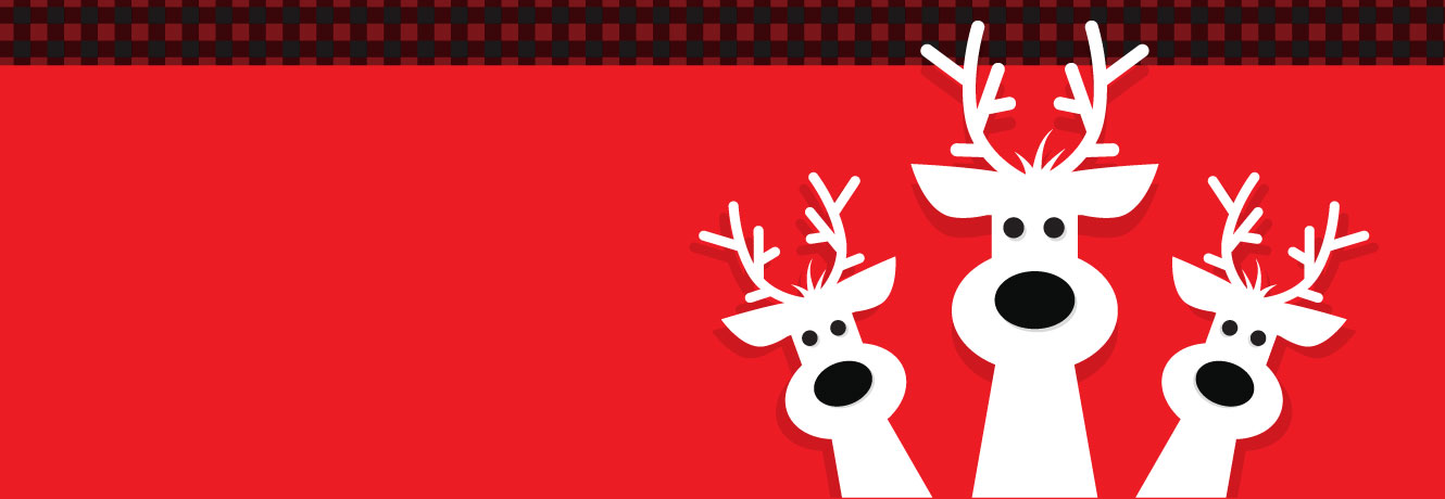 Three cartoon reindeer popping their heads up over a festive background.